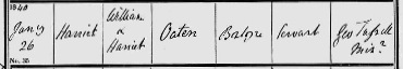 Clipping of 1851 England Census for Walcot